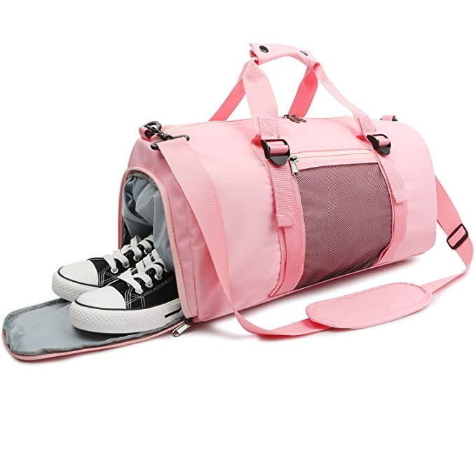 Oflamn Pink Sports Gym Bag with Shoes Compartment & Wet Pocket Lightweight Waterproof Travel Duffle for Men and Women