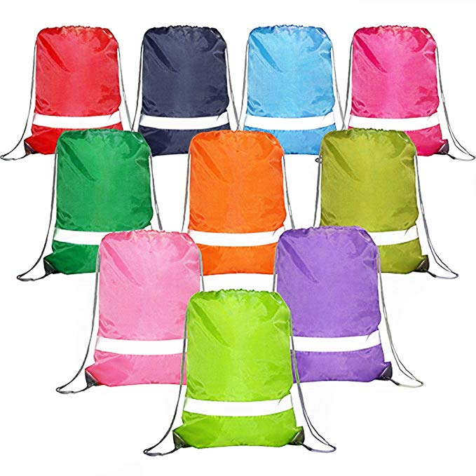 Colorful-Drawstring-Backpacks-Bags-Bulk Reflective String Bags, Cheap Sports Gym Sack Cinch Bags for School and Team (10 MIX-1)