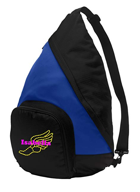 Sling Pack Backpack by All About Me Company | Personalized Track and Field Book Bag (True Royal/Black)
