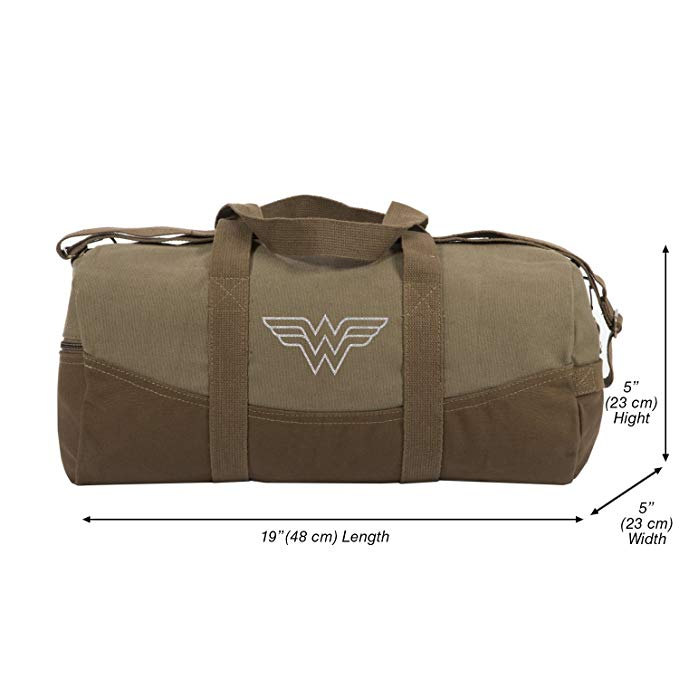 Wonder Woman Symbol Two Tone Brown 19� Canvas Duffel Bag with Detachable Strap