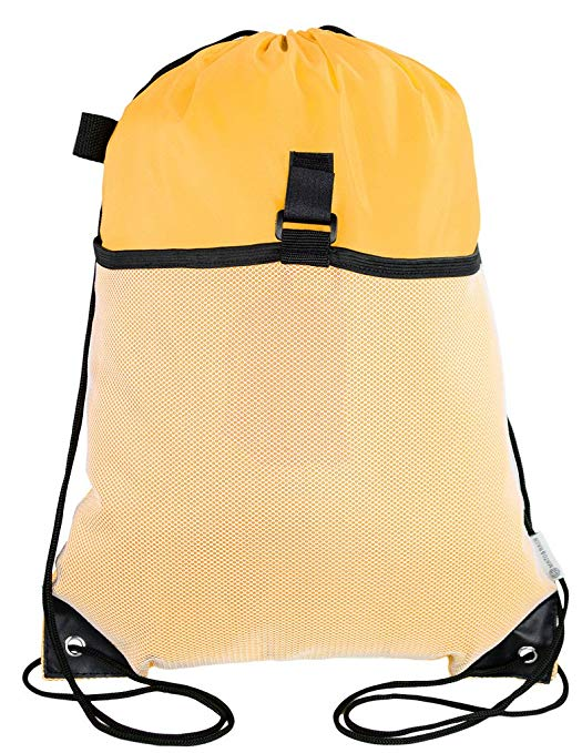 Mato & Hash Drawstring Cinch Bag Backpack With Mesh Pocket Tote Sack