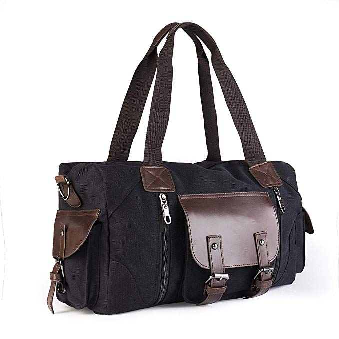Small Overnight Bag for Men and Women, Glen Mila Canvas Weekend Trip Travel with PU Leather Decoration Overnight Bag for Mens or Weekender (Black)