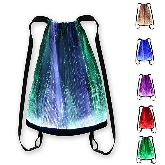 LED Light up Backpack 6 Glowing lights Bag For Rave Music Festival Party Christmas Halloween, Unisex Flashing Drawstring Bag