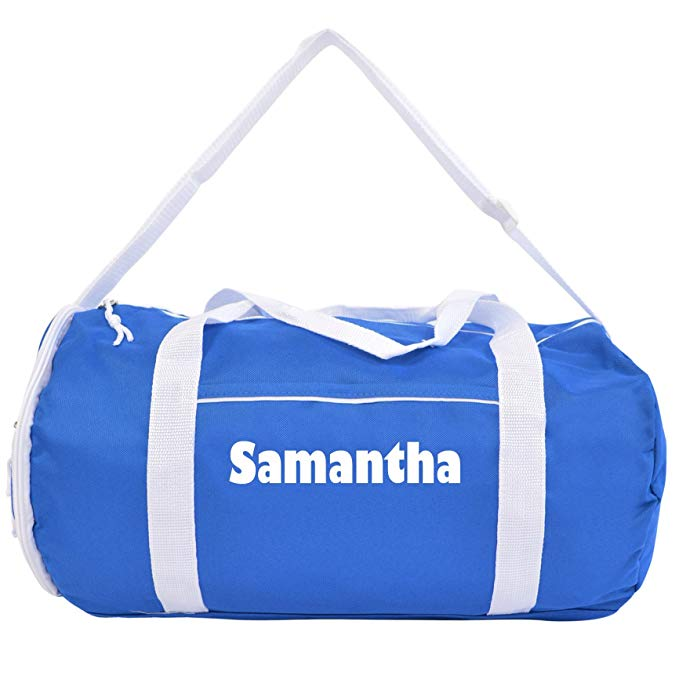 Kaysees Personalized Two-Tone Sport Gym Duffel Bags with Player Name