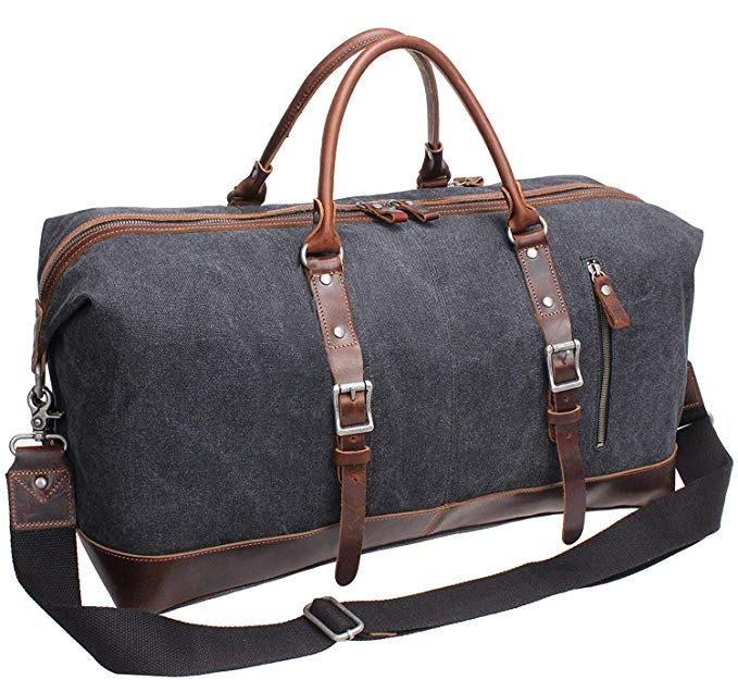 Iblue Vinatge Leather Weekender Travel Bag Mens Duffel Bag Canvas B003(Xl 21'', Grey)