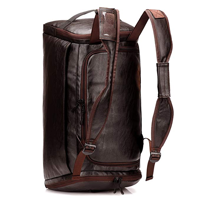 Men Gym Bag Leather Men Travel Backpack Rucksack Weekender Overnight Duffel Bag Gym Sports Luggage Tote For Men & Women (Brown)