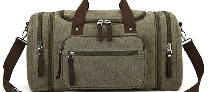 Canvas Duffel Bag, Aidonger Vintage Canvas Weekender Bag Travel Bag Sports Duffel with Shoulder Strap (Army Green) Review